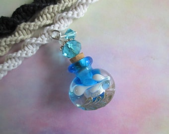 Essential Oil Bottle - Handmade Hemp Spiral Necklace in Your Choice of Color with Beautiful Hand Blown Glass Essential Oil Bottle Pendant