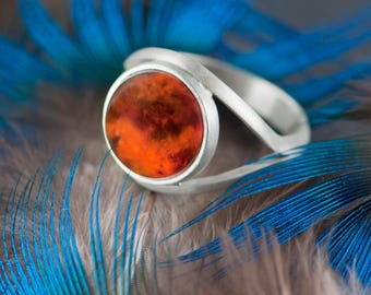 Amber Ring, Baltic Amber Silver Ring, Big Amber Ring, Amber Solitaire Ring, Sauron Eye Ring, Cognac Baltic Amber Ring, Natural Baltic Amber