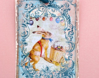 Rabbit and His Cart Postcard Easter Tags