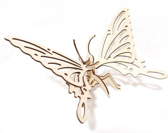 "Woodcraft constructor kit ""Butterfly"" 3D Wooden Puzzle Woodcraft model Wooden butterfly 3D Puzzle for assembly Model kit 3D constructor"