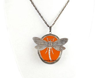 Dragonfly Pill Box Necklace Inlaid in Hand Painted Orange  Enamel Antique Silver Oval Locket Necklace with Color and Personalized Options