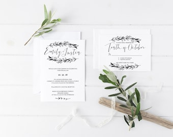 Rustic Casual | Wedding Invitation Suite | Ashleigh Suite | Custom Made | DIY Printable or PRINTED | Wedding Stationery
