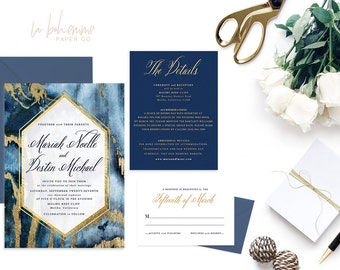 Printable Wedding Invitation Suite / Calligraphy / Wedding Invite Set - The Mariah Agate Suite