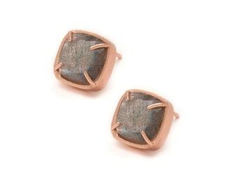 Labradorite Stud Earrings - Rose Gold Gemstone Stud Earrings - Labradorite in Rose Gold - 18k Rose Gold Vermeil - Studs