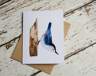 Nuthatch Card of Original Collage
