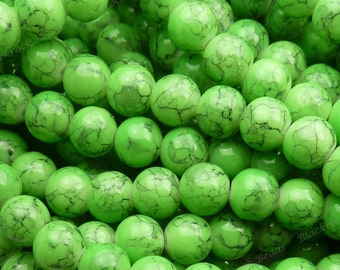 8mm Lime Green Mottled Round Glass Beads - Smooth, Shiny Beads - 25pcs - BN12
