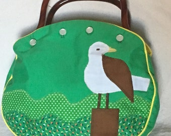 de Lanthe Summer Handbag/Purse Seagull Bird Appliques Button Bag