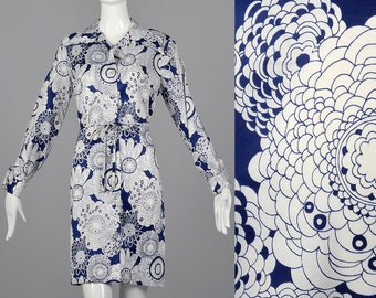 Medium 1970s Navy and White Print Dress Long Sleeve Shirt Dress Casual Day Wear Floral Print Belted Waist 70s Vintage