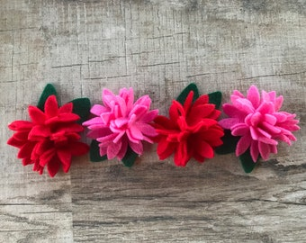 Red and Pink Scheme Felt Flowers