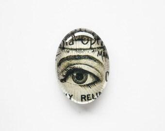 25x18mm handmade glass cabochon - antique eye illustration