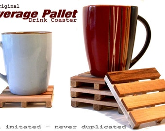 4 Coaster Set  - The Origianl Beverage Pallet Drink Coasters Made from Reclaimed Wood - PRICE REDUCED - Now JUST 10.99