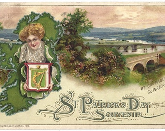 John Winsch Embossed Postcard - 1912 - St Patricks Day Souvenir - Cappaquin - County Waterford - Ireland