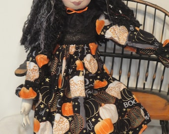 Halloween witch black orange OOAK witch art doll, handmade witch for Halloween, collectible witch whimsical Halloween fall doll