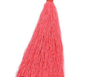 2 large PomPoms 95mm imitation coral pink silk