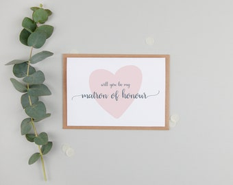 Will You Be My Matron of Honour Card - Card For Matron of Honour - Matron of Honor Card - Matron of Honour Gift - Matron of Honour Request