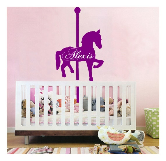 Personalized name carousel horse wall decal sticker