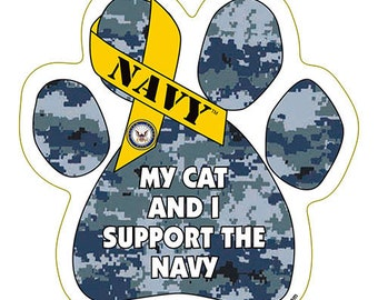 My Cat And I Support The Navy Dog Paw Magnet