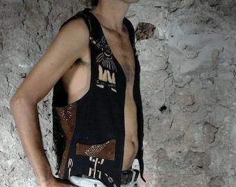 Jacket dogon ethnic man, organic cotton, pockets