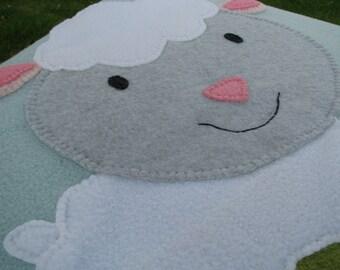 Lamb Baby Blanket - Blue Baby Blanket - Lamb Blanket - Neutral Blanket Baby - Shower Gift- Baby Shower Gift - Baby Neutral - READY TO SHIP