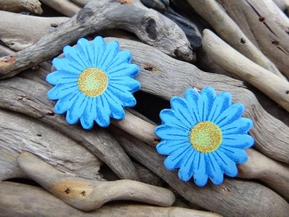 Large Wooden Blue Daisy Gerbera Sunflower Stud Earrings Studs Sun Flower Summer Happy Festival Hippie Earring Boho Earring Ear Rings