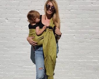 100% Linen Ring Sling Baby Carrier in Oasis