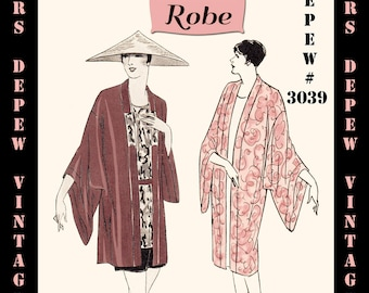 Vintage Sewing Pattern Instructions 1920s Flapper Easy Kimono Robes Ebook PDF Depew 3039 -INSTANT DOWNLOAD-