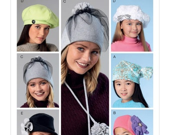 McCall's Pattern M7519 Misses'/Girls' Beanie, Hat, Berets and Caps