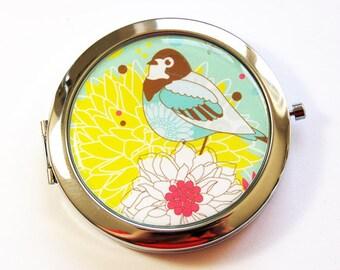 Flower compact mirror, Bird mirror, mirror, pocket mirror, compact mirror, floral mirror, Turquoise, Yellow (3018)