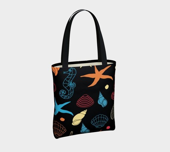 beautiful canvas tote with nautical style pattern
