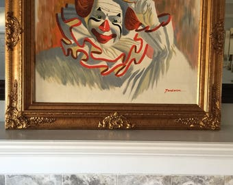 Clown painting/ clowns/ Vintage oil painting / clown painting/ clowns/ vintage clowns