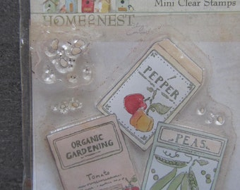 Mini Clear stamps colorful garden and kitchen themed