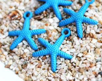 4pc Blue Starfish Charms Painted Metal Casting Starfish beads Sea star charms nautical beach jewelry making - F453
