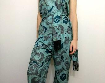 PAISLEY PSYCH 70s Pant Skirt Tube Top Versatile Set Size Small or Medium