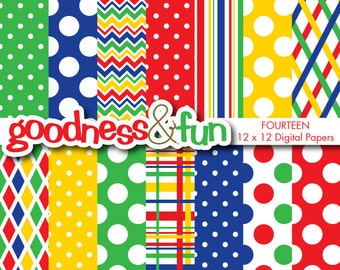 Buy 2, Get 1 FREE - Primary Designs Digital Papers - Digital Primary Colors Paper Pack - Instant Download