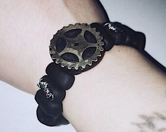 Beaded gear bracelet