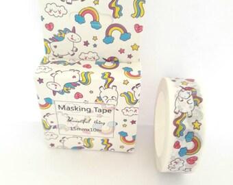 Washi tape, washi tape masking tape 15 mm x 10 m, Unicorn theme
