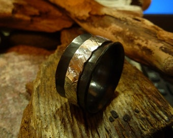 Hammered Oxided brass Spinner Ring with silver .925 band. Handcrafted-Custom Size