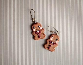 Cute Gingerbread Men Earrings / xmas christmas gift jewelry / kawaii jewelry / kawaii cookies / cookie earrings / fake food / dollhouse