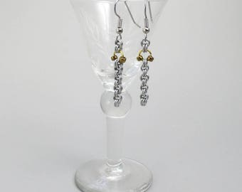 Earrings, Chainmaille, Mixed Metals, Silver and Gold Color, Drop Style