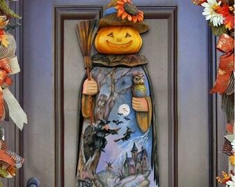 Fall Decor Halloween Pumpkin Scarecrow Wooden Door Hanger - Wall decor -  Free shipping ( domestic) 8114180H