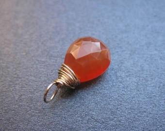 CARNELIAN Wire Wrapped Gemstone Drop Charm Pendant Interchangeable Jewelry