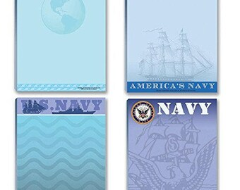 Navy Notepads - 4 Assorted USN Note Pads - Fun United State Navy Notepads - Military - Armed Forces - 628