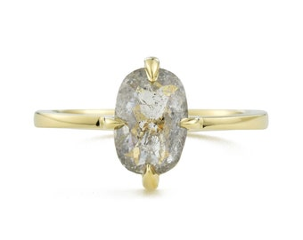 Gray Rose Cut Diamond Ring, 14K Gold Oval Diamond Engagement Ring, Size 6.5 Resizing Available