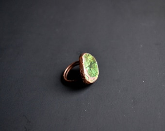 Statement Magnesite Turquoise & Copper Ring Size 6.25