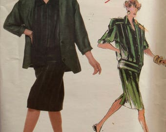 Tamotsu Vogue 1737 Sewing Pattern 1980s Loose Fitting Boxy Jacket Straight Skirt Pleated Top Individualist American Designer UNCUT Size 10