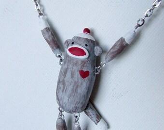 Swinging Sock Monkey Necklace