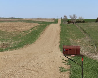 Mailbox on Countryroads, in South Dakota, United States-coloured-digital download