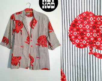 Mod and Sassy Vintage Red Bandana Apples with Black and White Striped Blazer Jacket with Pockets!