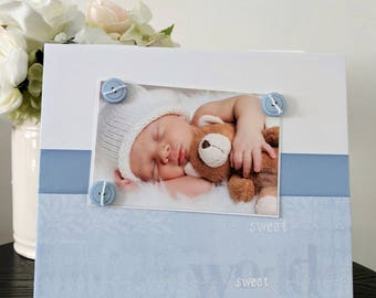 Sweet Baby Boy - Nursery Room Newborn Shower Mom Blue Handmade Gift Present Home Decor Magnetic Picture Frame Size 9 x 11 Holds 5 x 7 Photo
