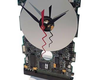 SALE 15% Off. This Circuit Board Clock has a Hard Drive Disk as Dial! Retro Clock, Preppie Gift Clock. Modern Clock Got Office Gift Clock?